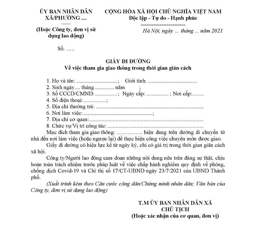 Mẫu giấy đi đường Hà Nội.