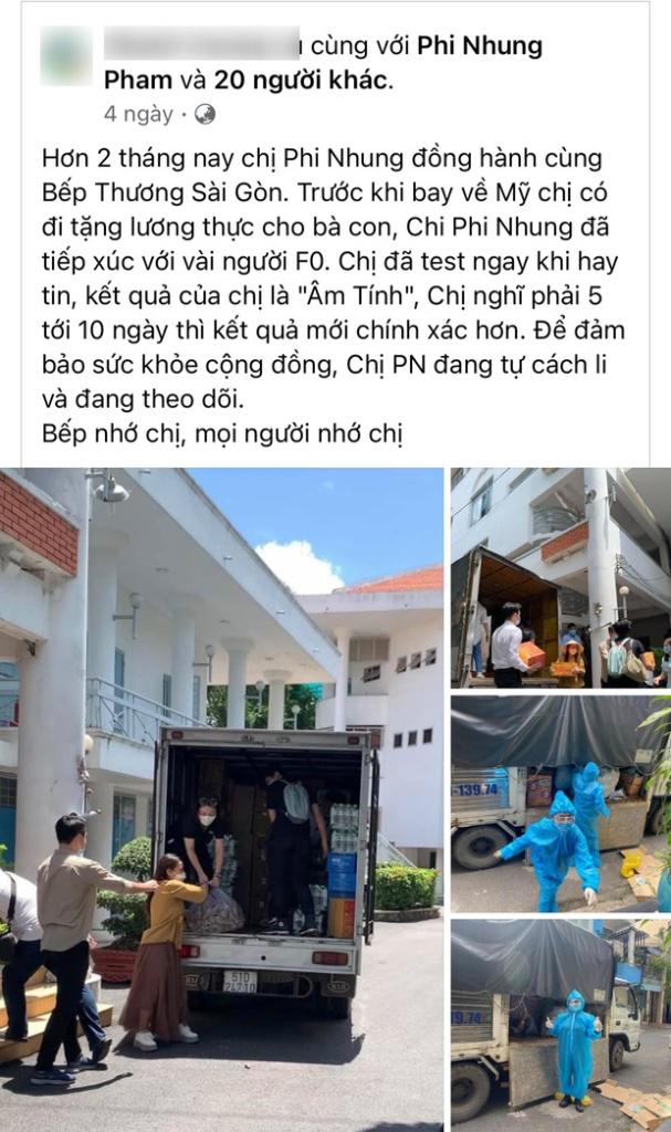 Phi Nhung đã có 2 tháng đồng hành cùng 1 bếp ăn ở TP.HCM, trước khi về Mỹ cô cũng đi phát lương thực và có tiếp xúc với F0