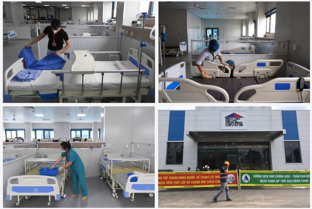 Hình ảnh về bệnh viện dã chiến mới xây dựng ở Hà Nội dành cho bệnh nhân Covid-19.