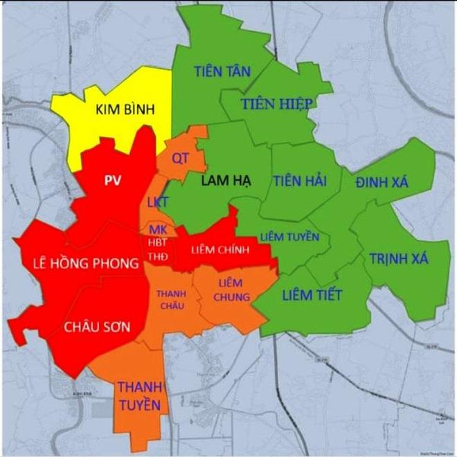 Bản đồ Covid-19 trên địa bàn thành phố Phủ Lý, tỉnh Hà Nam.