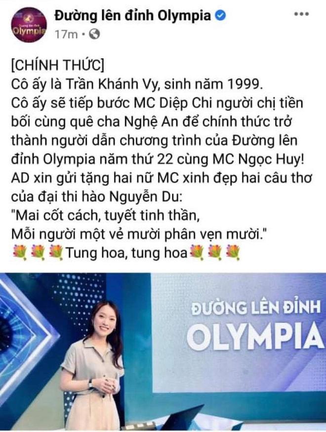 fanpage Olympia chính thức thông báo Trần Khánh Vy sẽ thay MC Diệp Chi