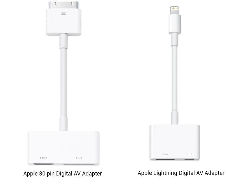 Người dùng iPhone có thể sử dụng dây cáp HDMI, cùng đầu chuyển Apple Digital AV hoặc Apple Lightning Digital AV.