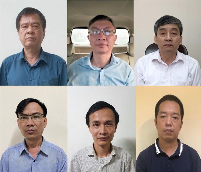 Các bị can (từ trái qua, từ trên xuống): Nguyễn Văn Kiên, Trịnh Mạnh Cường, Đinh Văn Hữu, Nguyễn Quang Tuyến, Võ Thúc Chính, Mai Thanh An. Ảnh: Bộ Công an.
